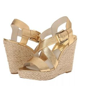 Michael Kors strappy gold espadrille wedges